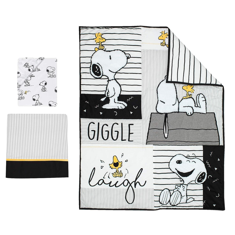 Lambs /& Ivy Classic Snoopy White//Black//Gray 3-Piece Baby Crib Bedding Set