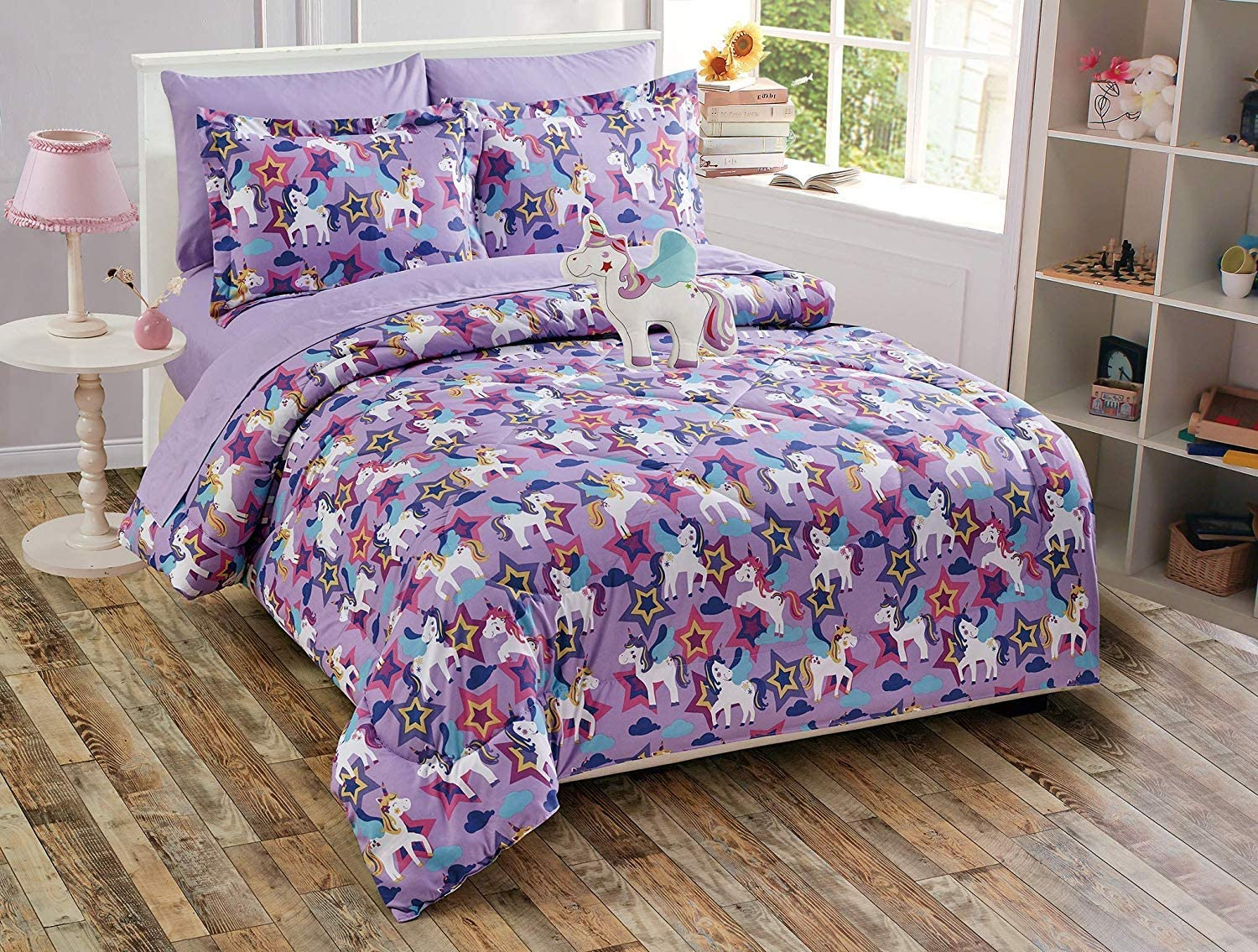 Elegant Homes Multicolor Purple Unicorn Little Pony Design Fun 6 Piece Comforter Bedding Set for Girls/Kids Bed in a Bag with Sheet Set & Decorative Toy Pillow # Purple Unicorn (Twin Size)