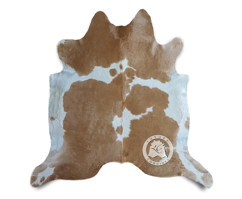 Teppich aus Kuhfell, Farbe  Beige und Weiß , Größe circa 180 x 210 cm, Premium - Qualität von Pieles del Sol aus Spanien