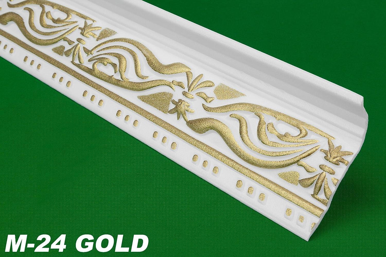 100 meter Modanature ornamentali Profile plafoniere parete stucco 46 X 89 mm, M 24 Gold M 24Gold HEXIM