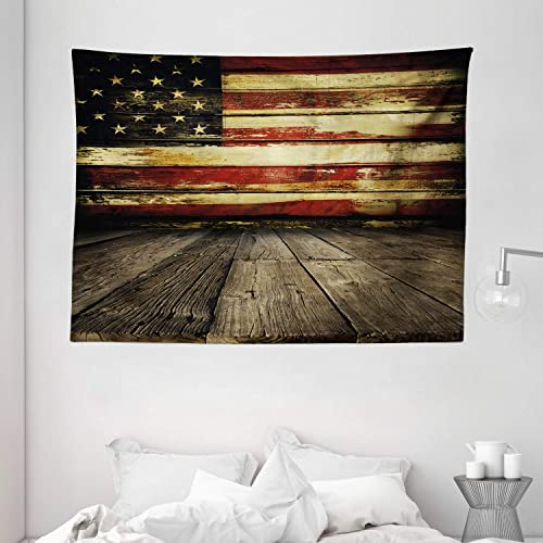 Ambesonne United States Tapestry, Vintage American Flag on Wooden Planks Wall Background Grunge Print, Wide Wall Hanging for Bedroom Living Room Dorm, 80 X 60 , Cream Red
