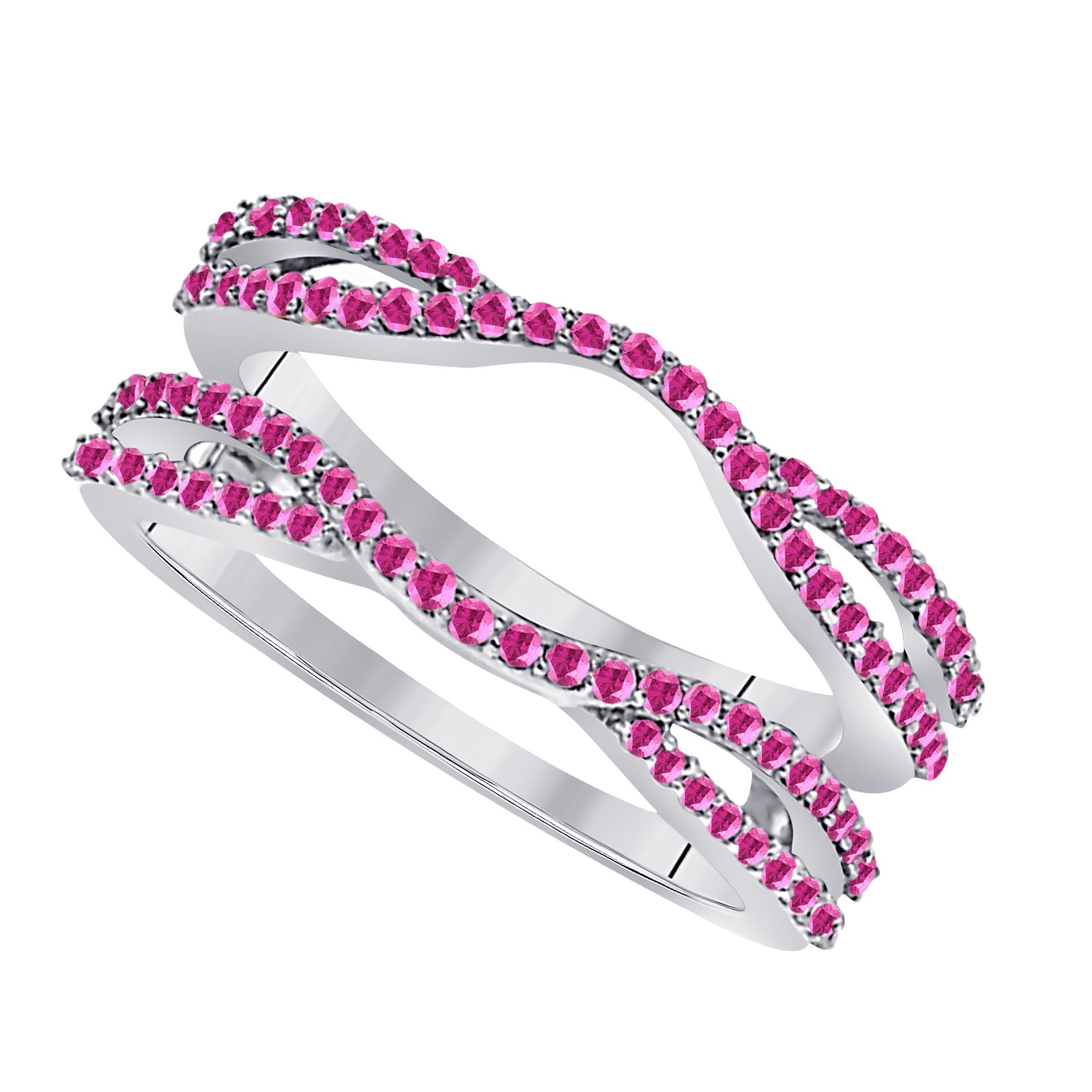 Star Retail 1/2 Ct 14K White Gold Finish Round Cut Lab Created Pink Sapphire Ladies Anniversary Wedding Band Enhancer Guard Double Chevron Ring