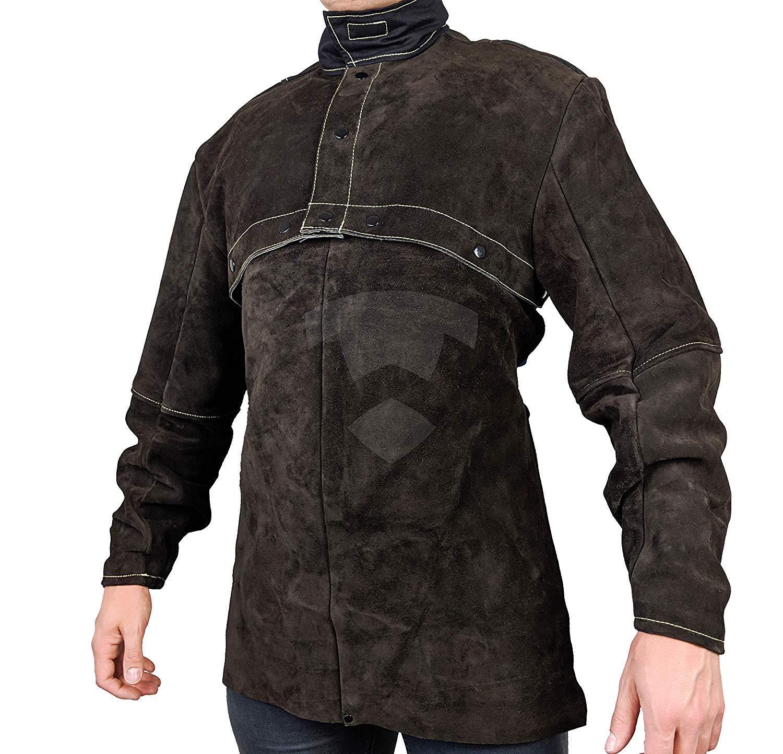 Waylander Welding Cape Sleeves Jacket Cowhide with detachable 20'' Bib Kevlar Stitched - X-LARGE