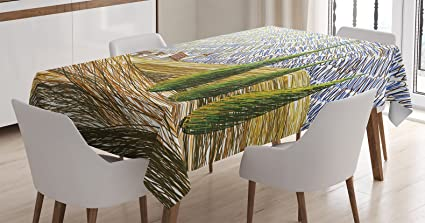 Ambesonne Tuscan Decor Tablecloth, Van Gogh Style Italian Valley Rural  Fields With European Scenery Digital