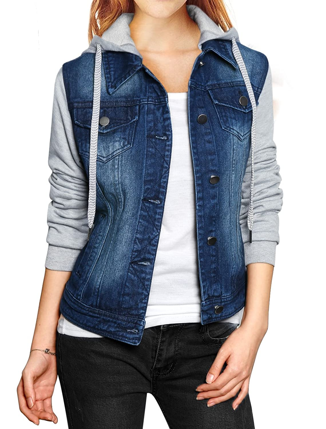 Allegra K Women Layered Drawstring Hood Denim Jacket w Pockets at