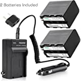 Kastar Battery (2-Pack) and Charger for Sony NP-F970 NP-F960 F970 F960 F975 F950 and DCR-VX2100 HDR-AX2000 FX1 FX7 FX1000 HVR-HD1000U V1U Z1P Z1U Z5U Z7U HXR-MC2000U FS100U FS700U and LED Video Light