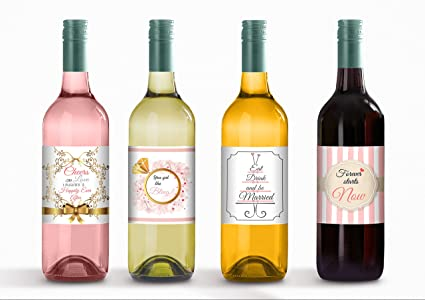 wine bottle labels for engagement party bachelorette party or bridal shower gift
