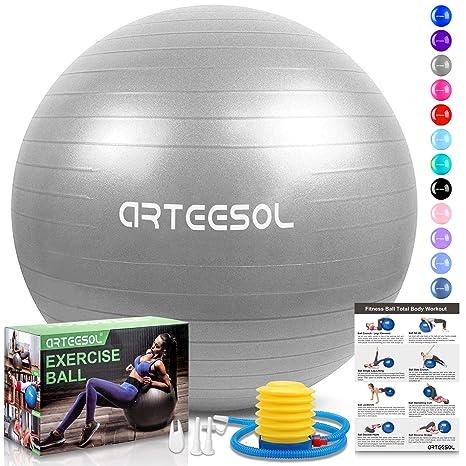 Arteesol - Pelota de Ejercicio, 65 cm, 75 cm, para Fitness, Yoga, antiquemaduras, Estabilidad, balón con Bomba para Fuerza del núcleo, Color Plata, ...