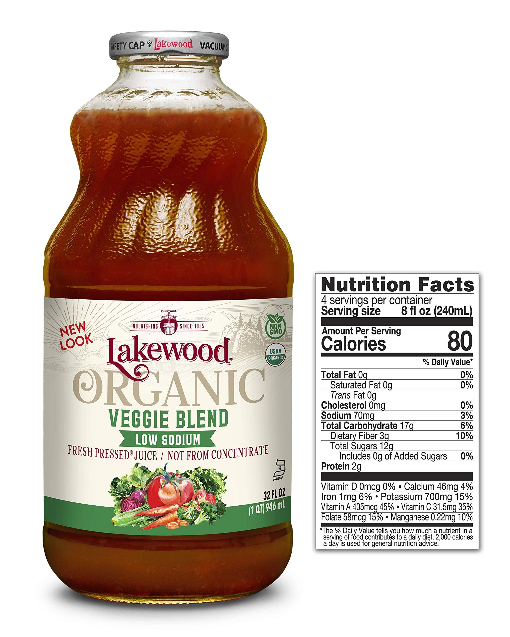 Lakewood Organic Super Veggie Low Sodium Juice, 32 Ounce (Pack of 6) by Lakewood