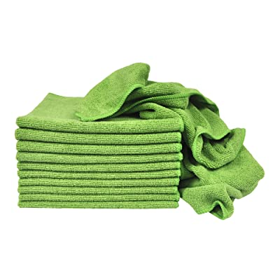 Eurow Utility Terry Weave 16 x 16in 240 GSM Microfiber Cleaning Towels Green 12-Pack: Automotive