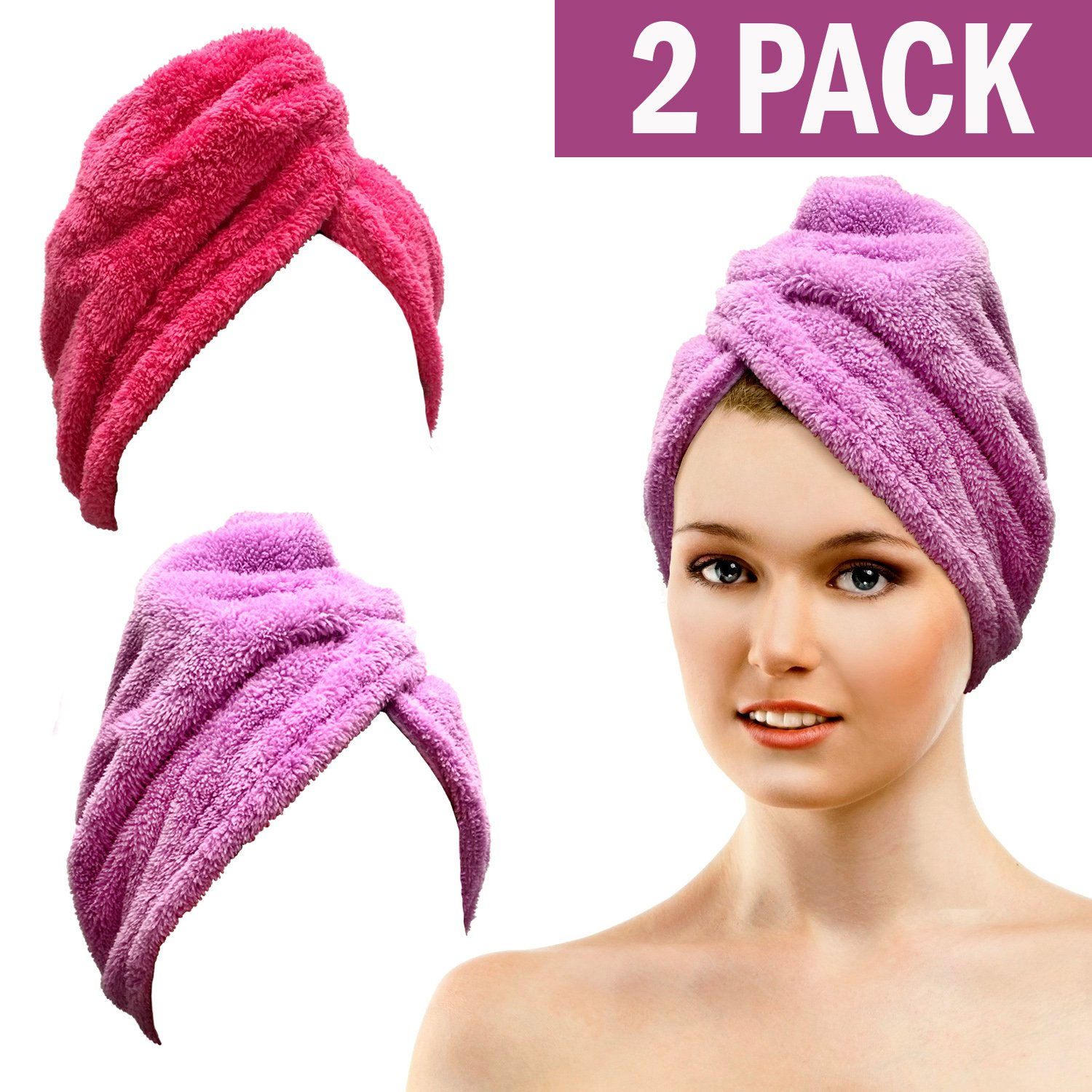 Bath Blossom Microfiber Hair Towel Wrap - Fast Drying Head Wraps Turban Shower Cap Style (2 Pack) For Women and Children