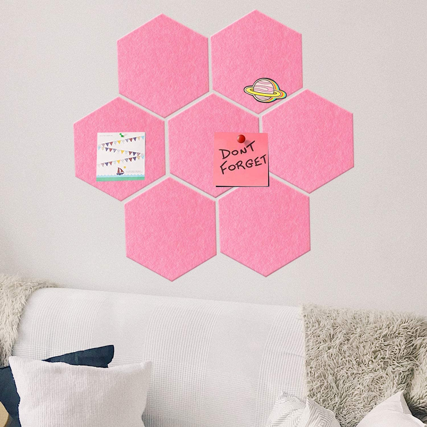 Fanciher 7 Pack Hexagon Felt Board, Cork Board, Memo Board, Adhesive Wall Bulletin Board, Message Board, for Office Bedroom Home Wall Decor with Push Pins with 20 pcs pins (Pink)