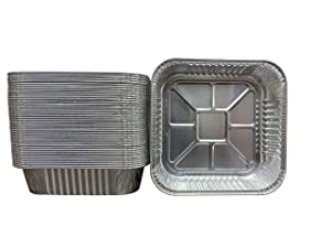 Waytiffer Pack of 50 Square Disposable Aluminum Cake Pans Recyclable Square Cooking Tins Homemade breads - 8 x 8 x 2 inch