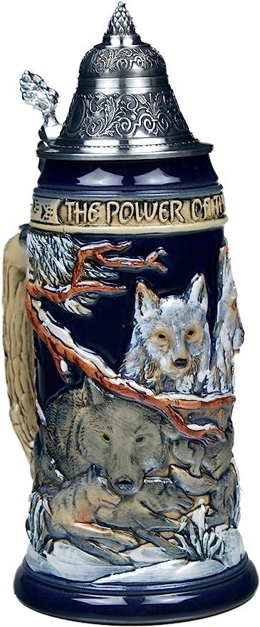 Beer Steins by King – Power of the Pack Wolf – Taza de cerveza alemana de 0,75 l: Amazon.es: Hogar