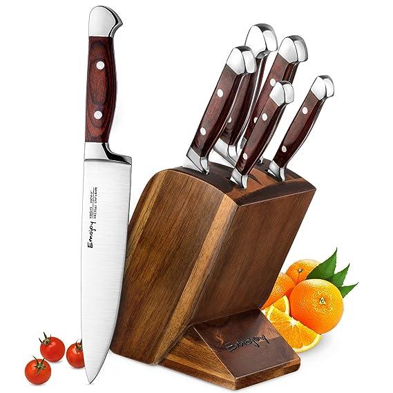 Emojoy Messerblock Set, Messerset, Kochmesser aus Edelstahl mit Ergonomischer Holzgriff, Profi Küche, Feststehend, Extra Scha