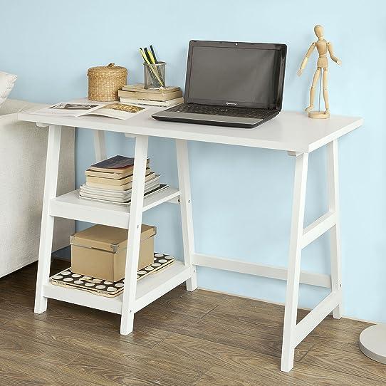 SoBuy FWT16W Bureau informatique Table Plan de travail avec 2