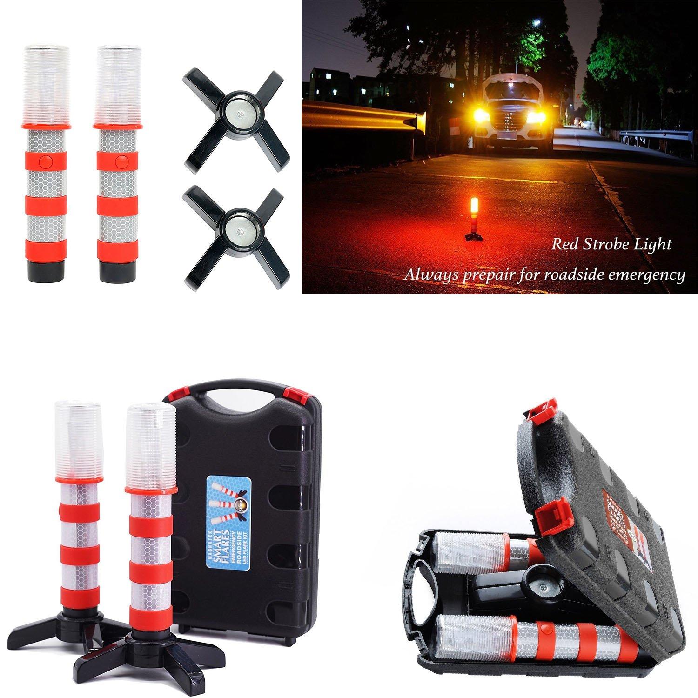 1paire LED Rouge d'urgence routière clignotant Flares Sécurité stroboscope Route Avertisseur lumineux support amovible (batterie non inclus) Nirnanada