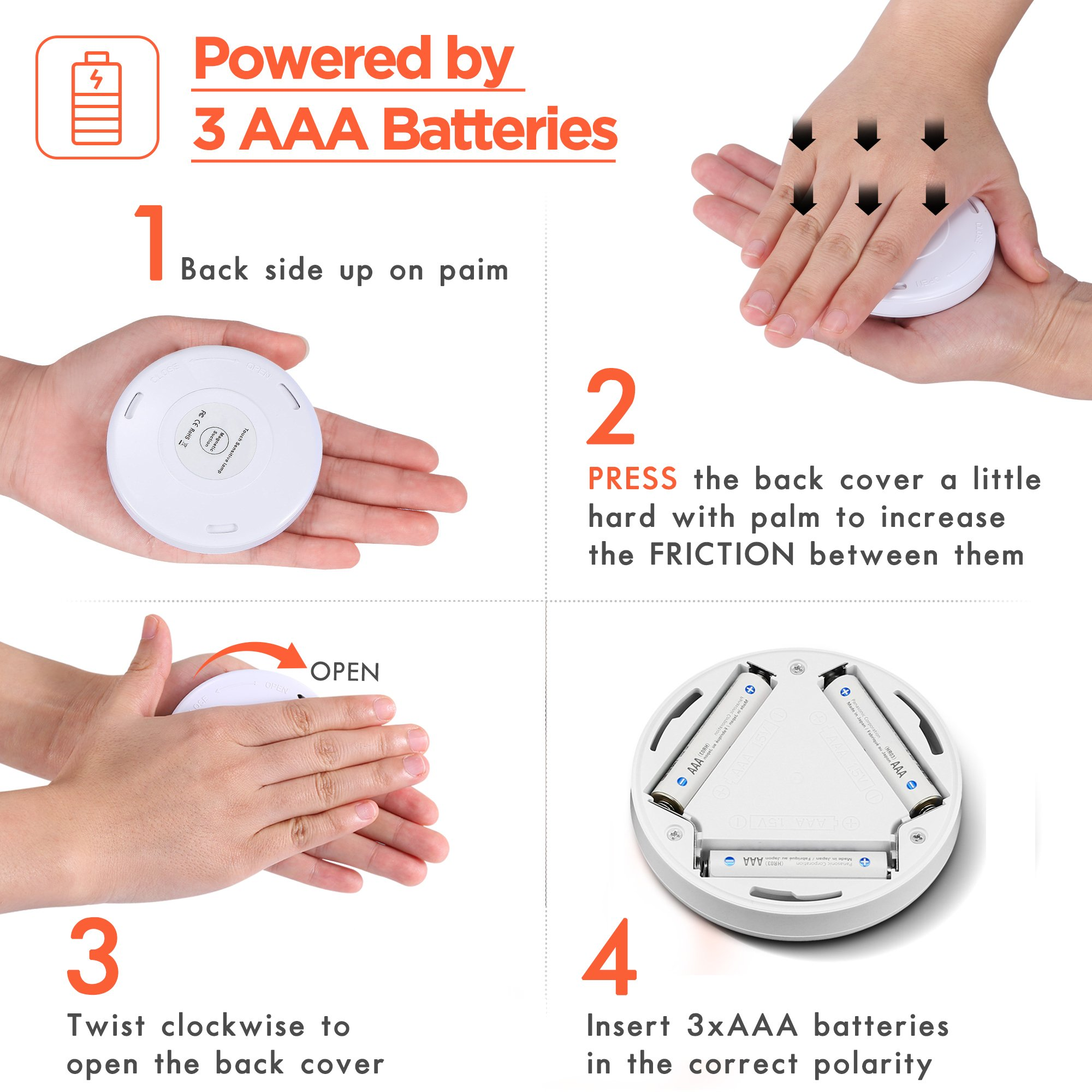 Sycees Touch Activated LED Puck Lights, Dimmable, Battery Operated, Stick on Anywhere, Warm White (2700K), 3-Pack by SYCEES (Image #5)