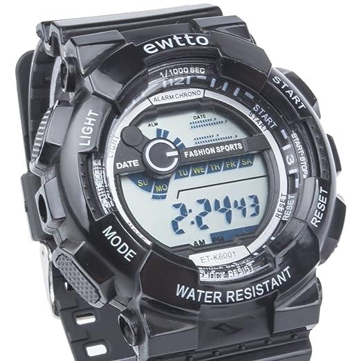 ewtto Digital analógico reloj deportivo, resistente al agua muñeca alarma Cronómetro Relojes con retroiluminación LED: Amazon.es: Relojes