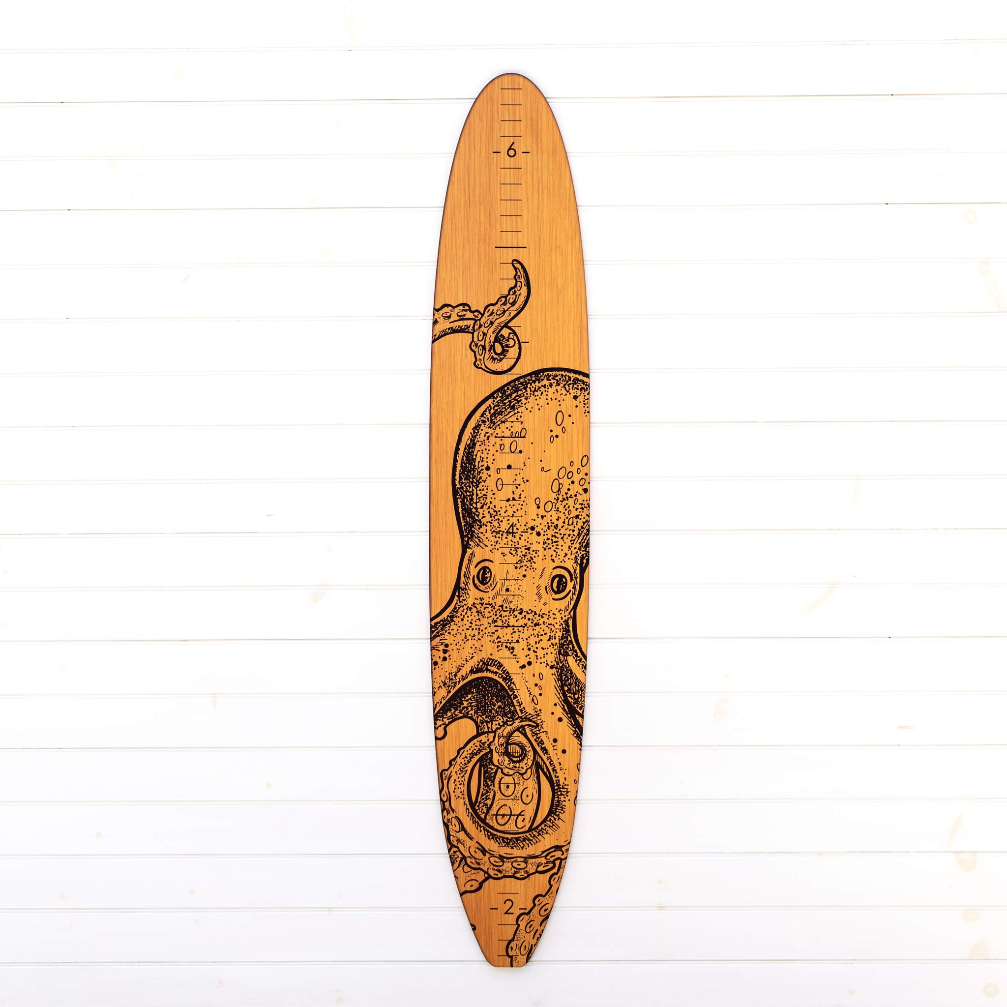 Wooden Surfboard Growth Chart for Boys | Baby Shower Gift | Baby Surfer Height Chart (Octopus)
