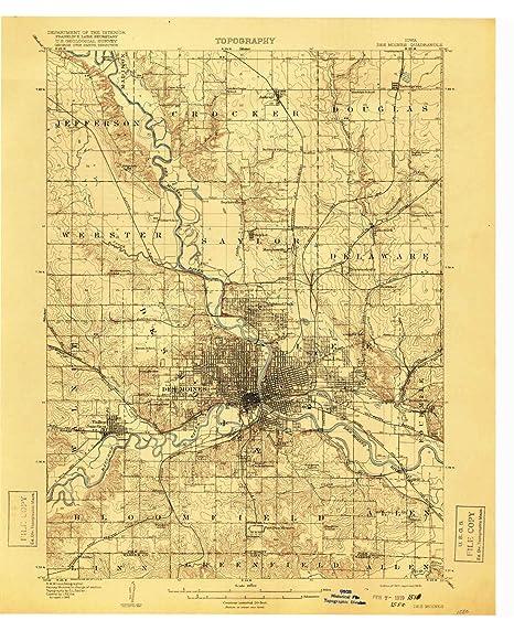 Amazon.com : YellowMaps Des Moines IA topo map, 1:62500 Scale, 15 X ...