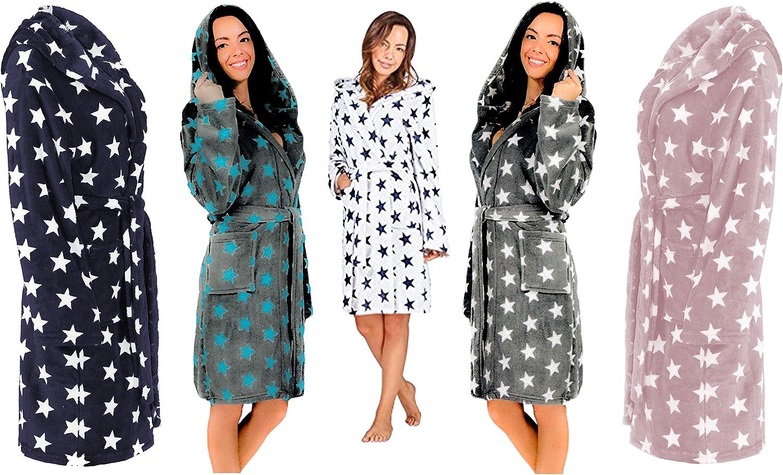 tama/ño: S//M L//XL Brandsseller Albornoz para Mujer con Capucha Bata de ba/ño para Ducha,Playa y Ba/ño Color: Gris//Blanco Estrellas