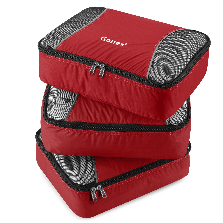 Gonex Packing Cubes Set 3PCs Travel Organizers Luggage Organizers Pouches (Orange)