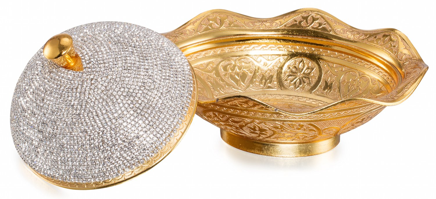 Swarovski Crystal Coated Handmade Brass Sugar Chocolate Candy Bowl Serving Dish with Lid & Spoon,Large (Full Swarovski Coated)