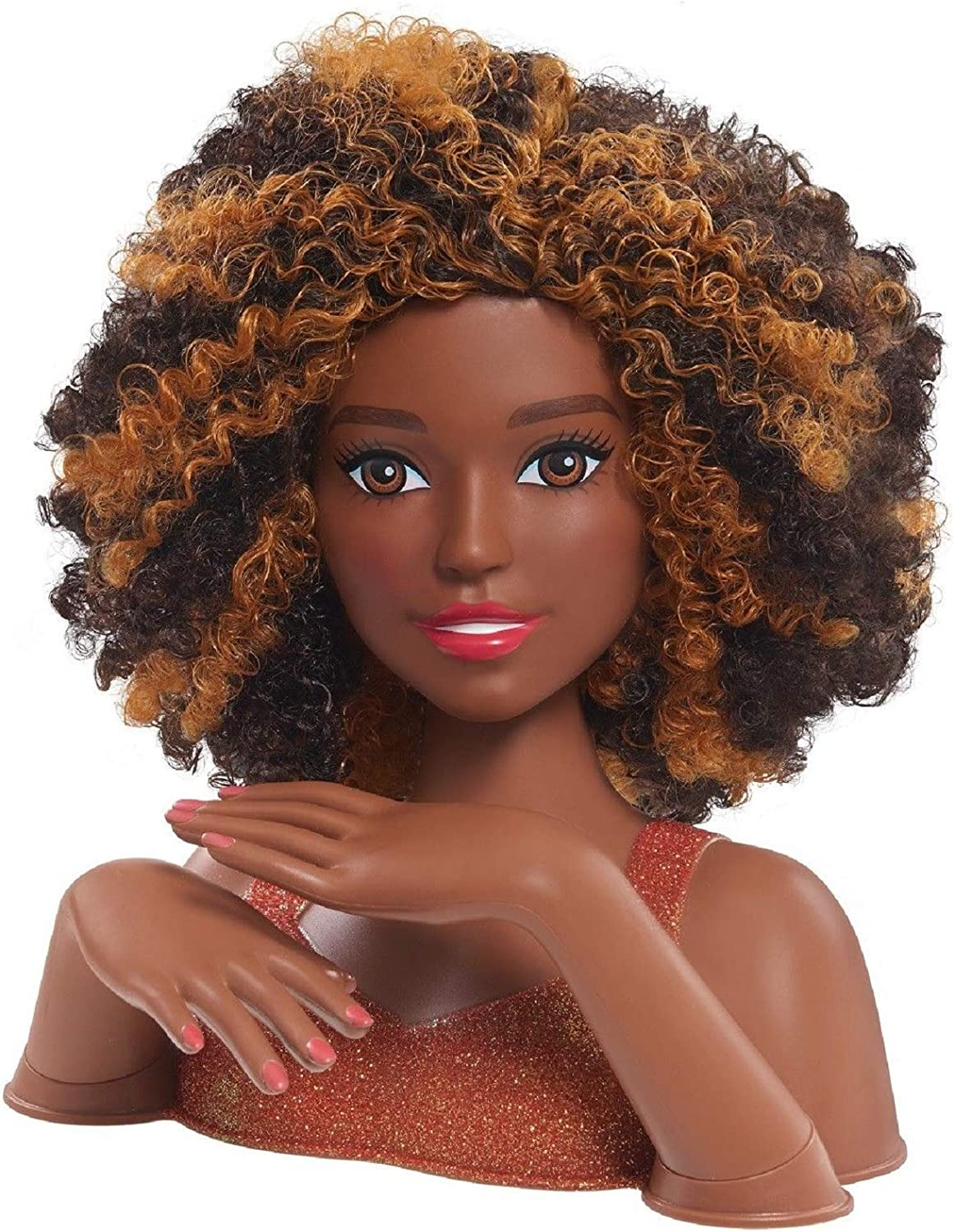 Amazon Com Barbie Deluxe Styling Head Color And Style Black Curly Hair Electronics