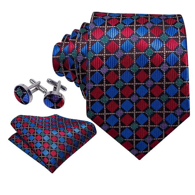 Barry.Wang Pañuelo de bolsillo de corbata de seda azul rojo para ...