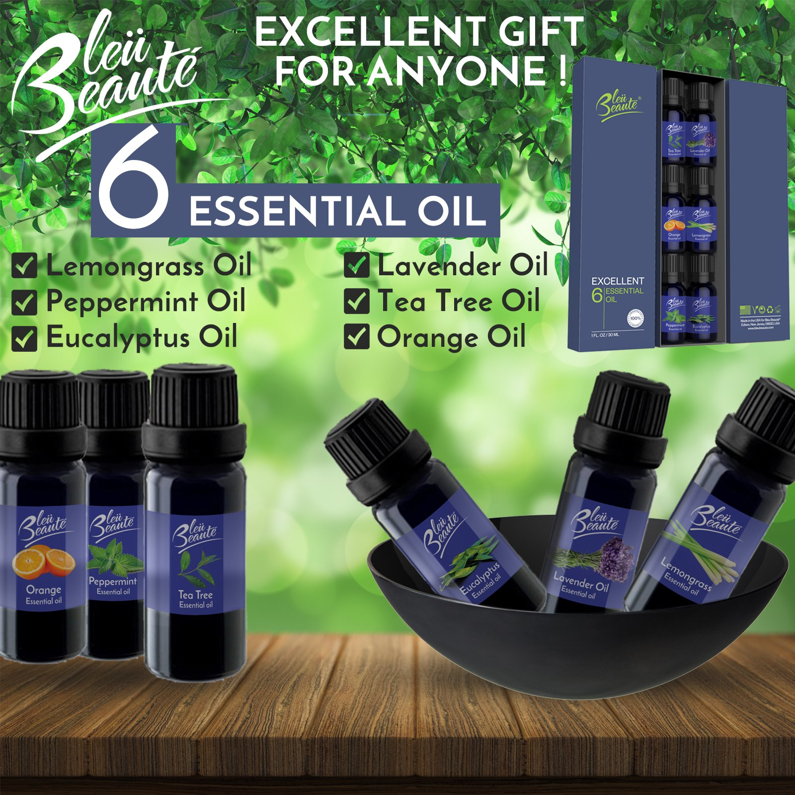 100% Pure - Excellent Gift set of Essential Oils (Pack of 6) for daily and travel use. Therapeutic Grade of 10 ml - Lavender, Tea Tree, Eucalyptus, Peppermint, Lemongrass, Sweet Orange