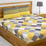 Loreto - A Quality Linen Brand 144 TC 100% Cotton Double Bedsheet with 2 Pillow Covers, Multi Colour