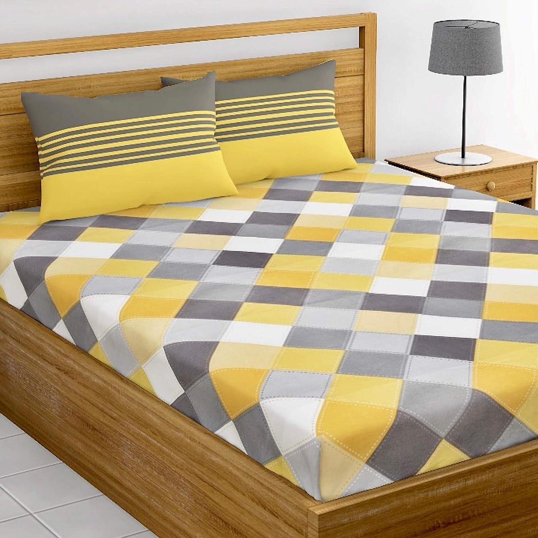 Loreto - A Quality Linen Brand 144 TC 100% Cotton Double Bedsheet with 2 Pillow Covers, Multi Colour