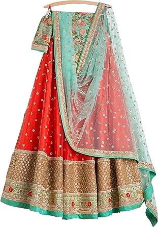 a5978cf4033 REKHA Ethinc Shop Embroidered Work Indian Bollywood Designer Lehenga Choli  Ethnic Look Women Semi-Stitched Lehenga Choli A312 Orange at Amazon Women s  ...