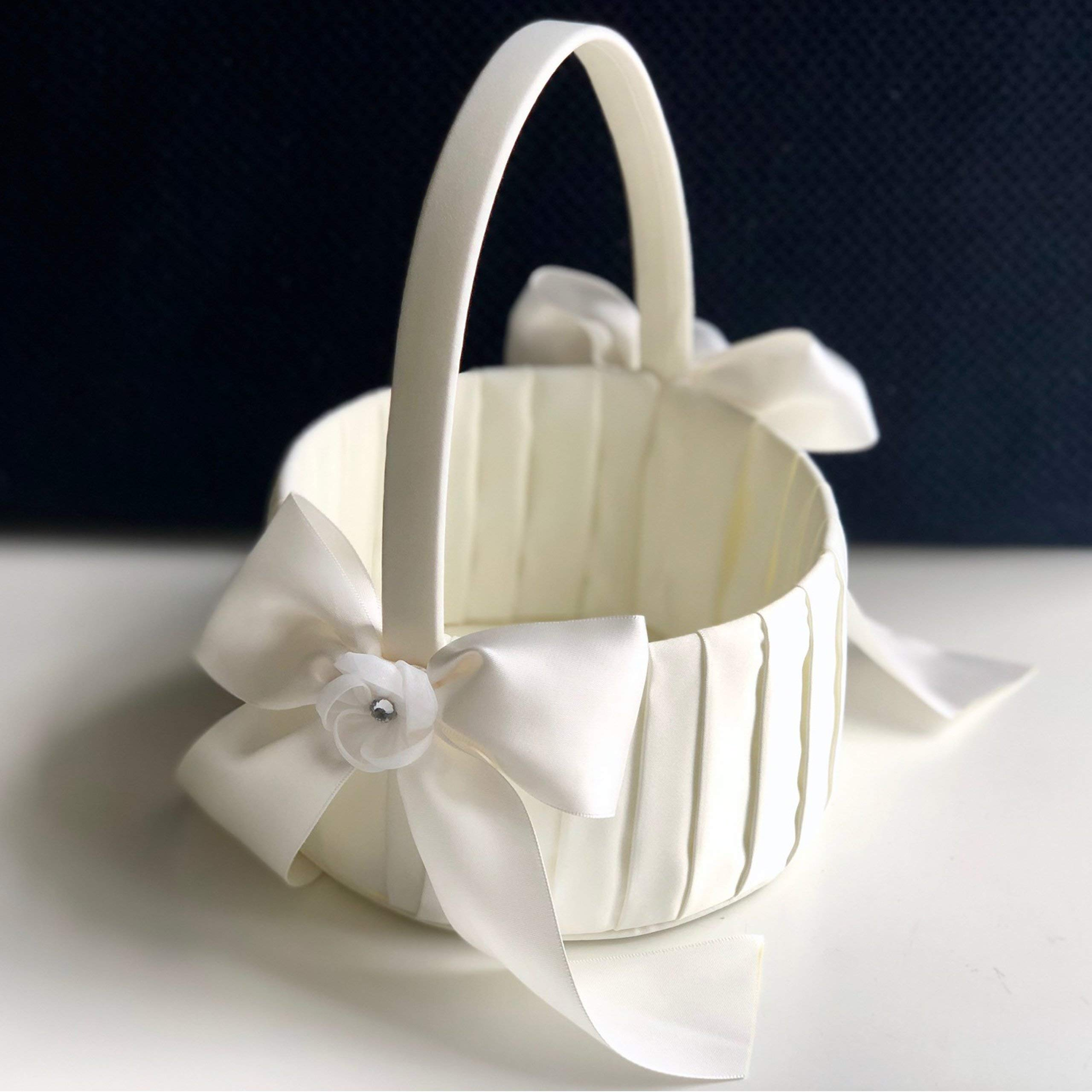 Alex Emotions White and Ivory Flower Girl Basket