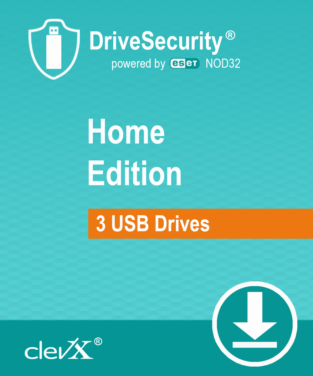 ClevX DriveSecurity powered by ESET - Home Edition - Automatic Malware (Antivirus) Protection for portable drives - 1 year, for  up to 3 portable USB Flash drives or external HDD/SSD devices [Online Code] by ClevX