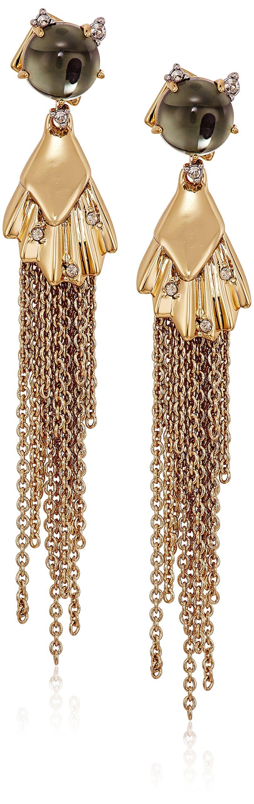 Alexis Bittar Crystal Studded Dangling Tassel Post Drop Earrings