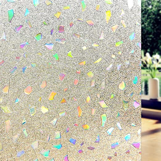 P014W Qualsen Window Film Privacy Frosted Flower Pattern Self Adhesive Stained Glass Window Stickers 44.3 x 200 cm
