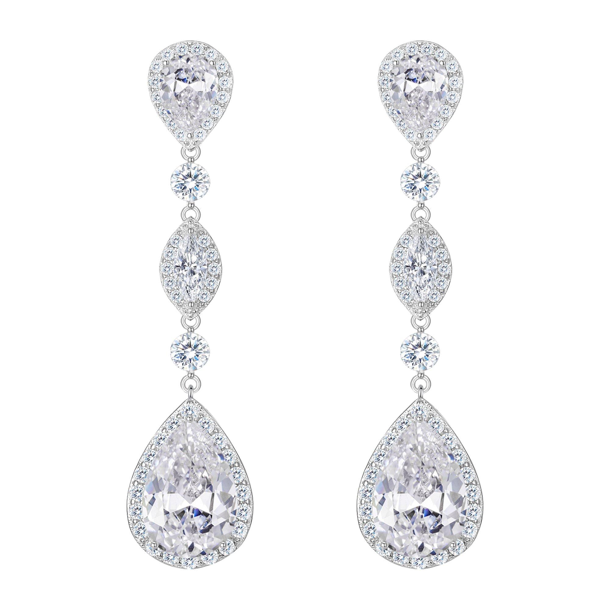 FANZE Women's Full Prong Cubic Zirconia Teardrop Pear Shape Pierced Dangle Wedding Earrings Silver-Tone