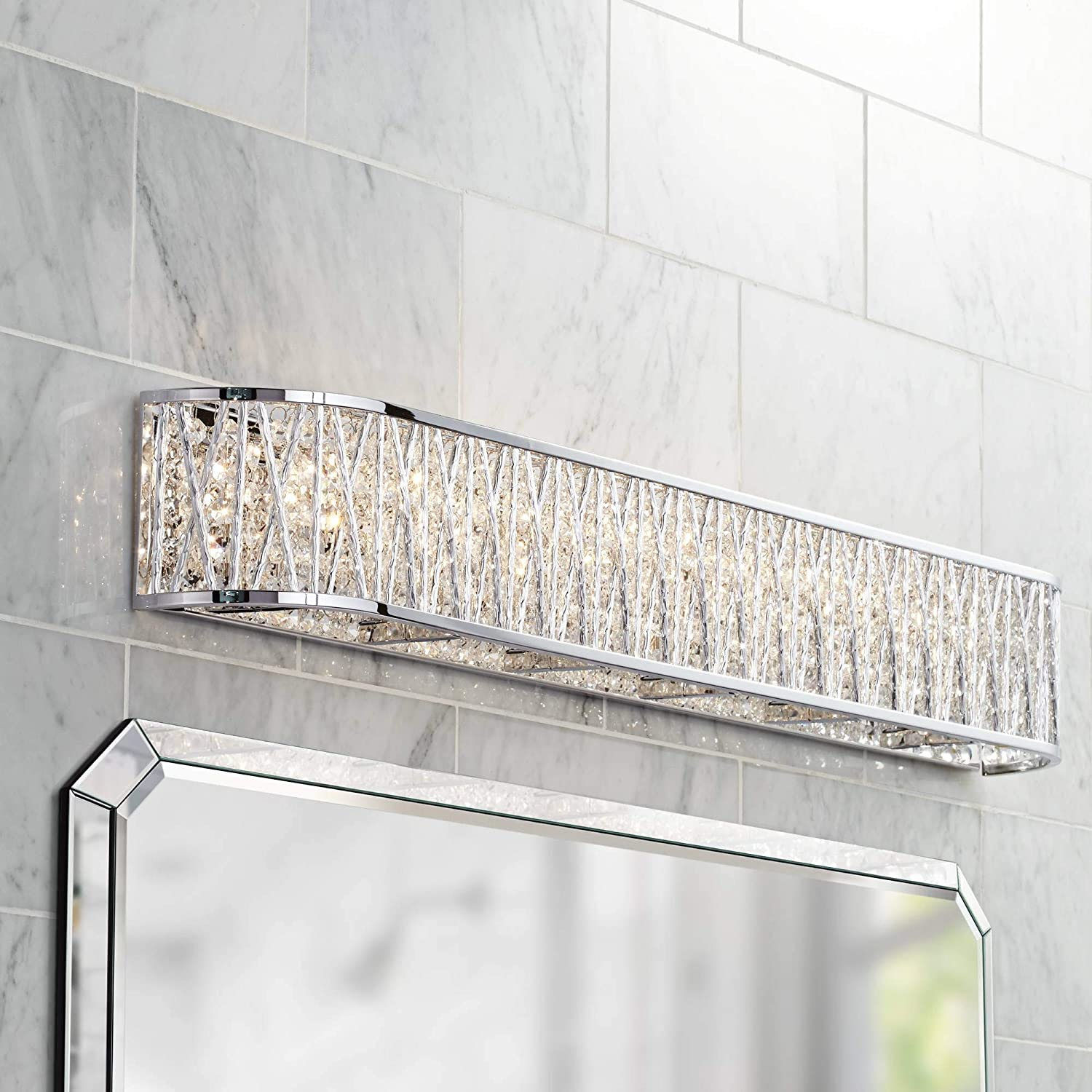 Woven Laser Cut Modern Wall Light Chrome Hardwired 36 Wide Light Bar Fixture Crystal Accents for Bathroom Vanity – Possini Euro Design