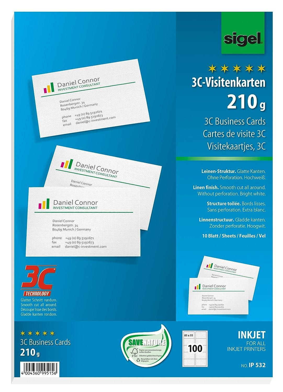 Sigel Ip532 Visitenkarten Mit Leinen Struktur Für Inkjet 100 Stück 10 Blatt Glatter Schnitt 85x55 Mm