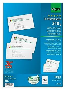 Sigel IP532 100 Cartes De Visite 3C Dcoupe Lisse Des Bords Format 8