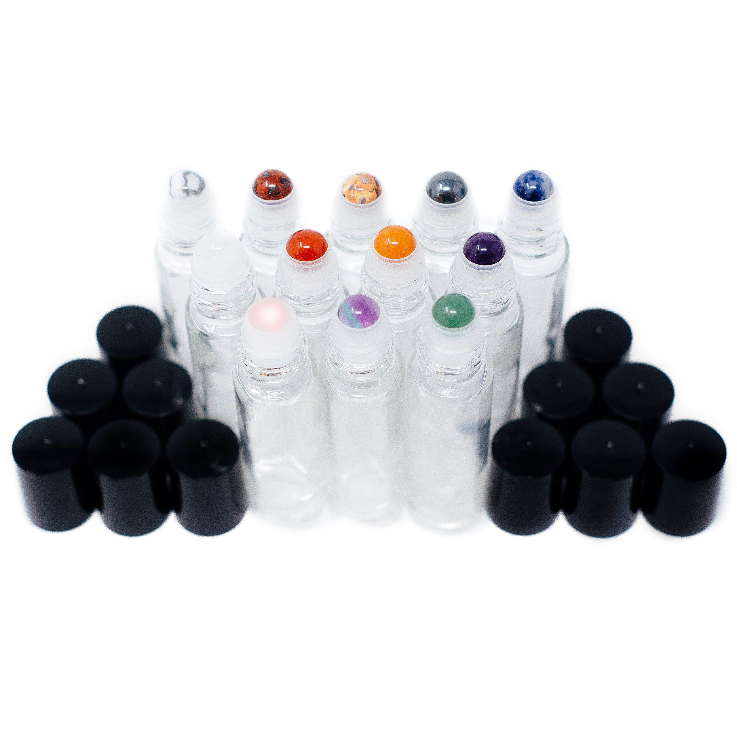 Gemstone Essential Oil Roller Bottles + Tops | Set of 12 Natural Crystals + Precious Stones | Gemstone Roller Balls | Unique Properties for Each Gemstone | Luxe Gift | Black Tops + 10ml Glass Bottles