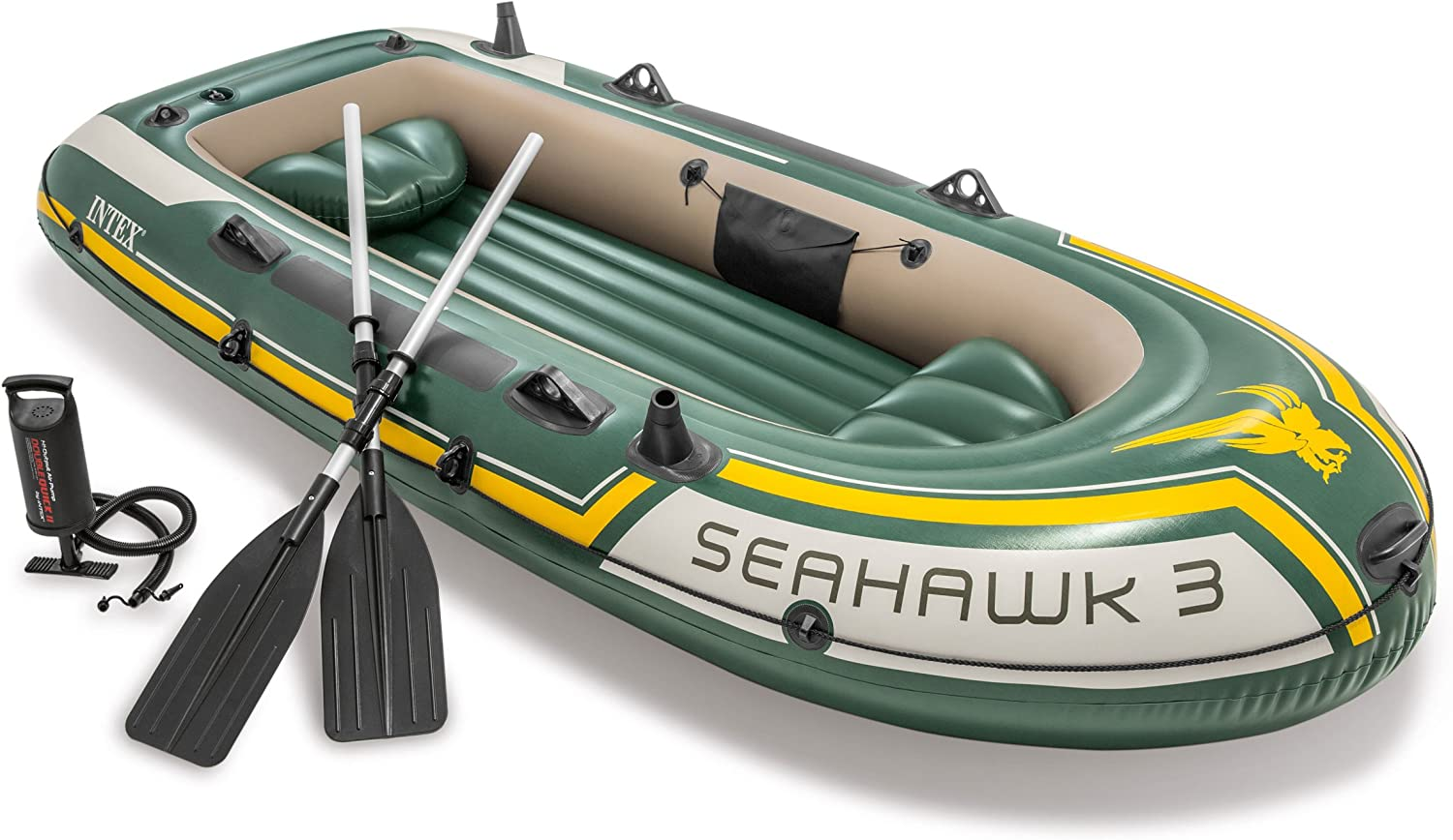 Intex Seahawk 3, 3-Person Inflatable Boat Set with Aluminum Oars and High Output Air -Pump