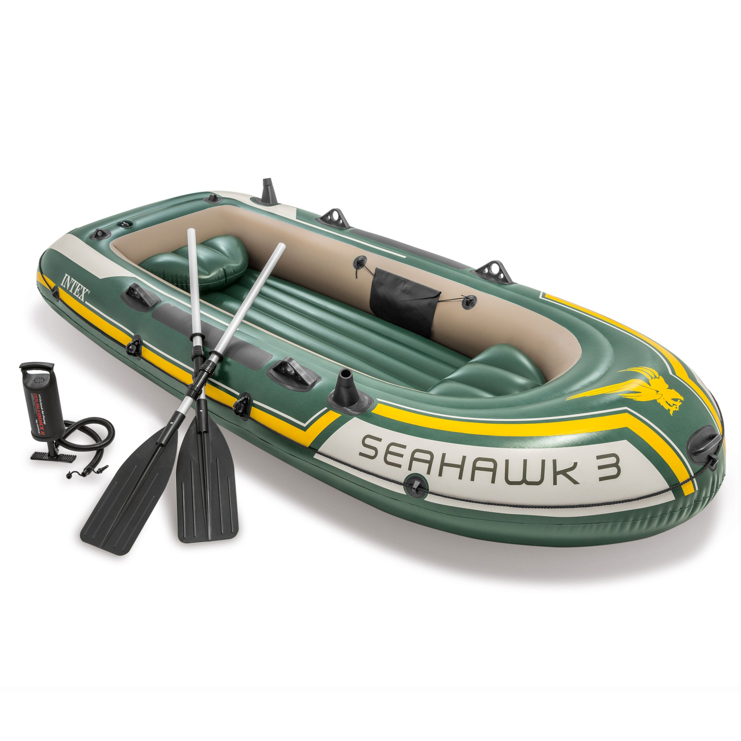 Intex Seahawk 3, 3-Person Inflatable Boat Set with Aluminum Oars and High Output Air Pump (Latest Model) by Intex