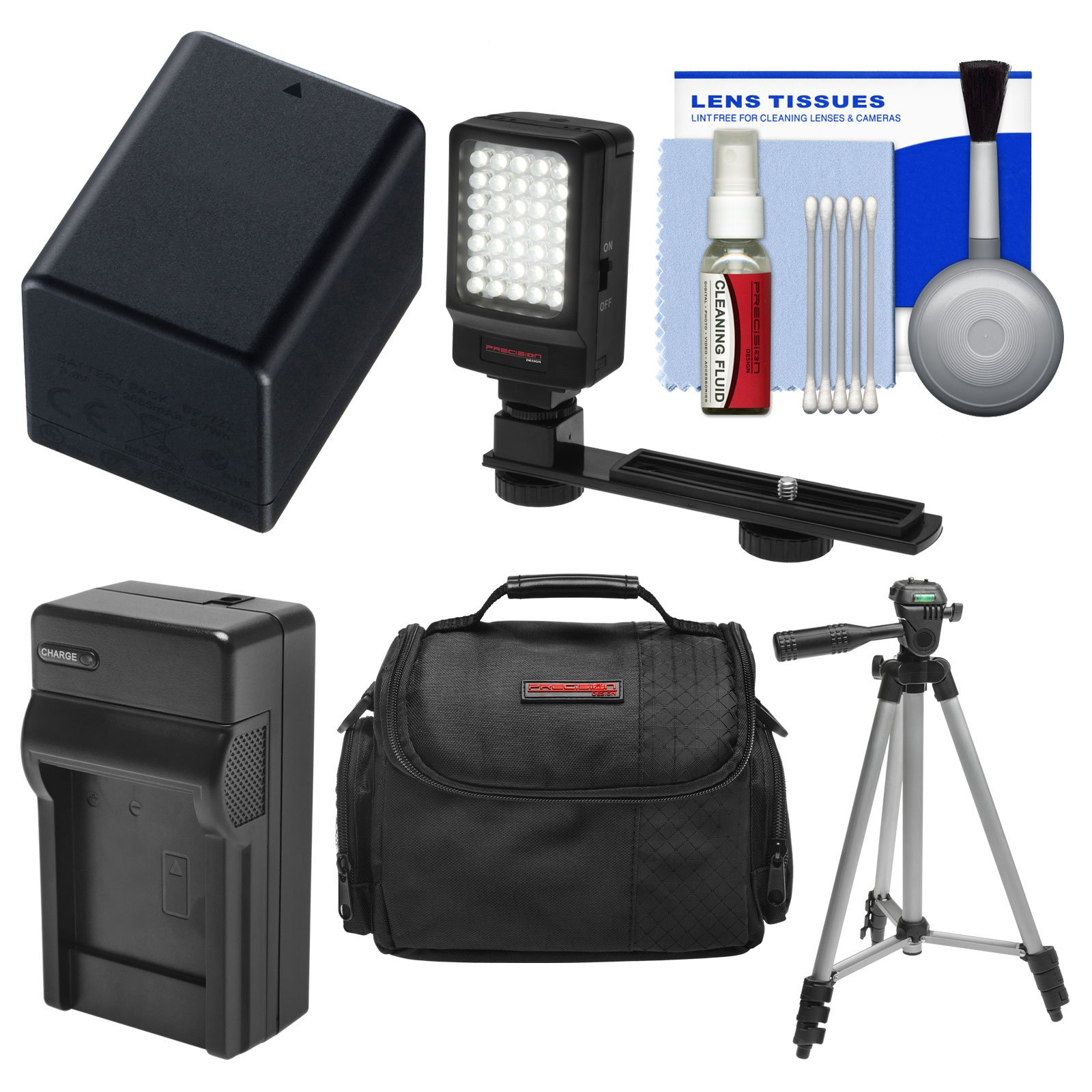 Essentials Bundle for Canon Vixia HF R70, R700, R72, R80, R800, R82 Camcorder with Case + LED Light + BP-727 Battery & Charger + Tripod + Cleaning Kit by Precision Design