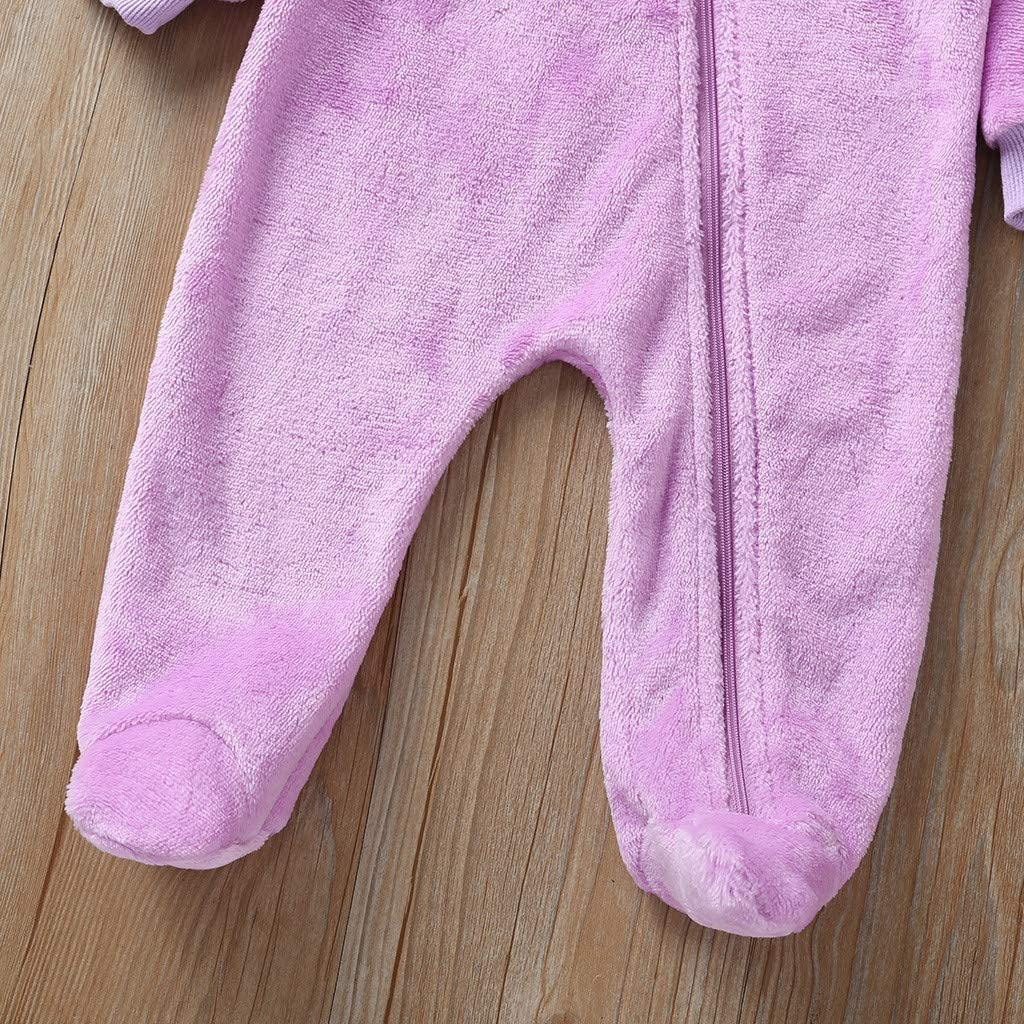 WOCACHI Newborn Infant Baby Boys Girls Hooded Romper Outfits Unisex Cute Warm Thick Long Sleeve Zip Fleece Bear Ears Footies Jumpsuit Coat Casual Clothes for 0-1 Years