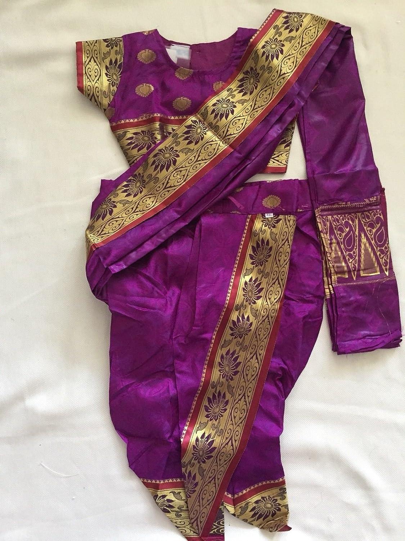 Reallysocute Kids Silk Pre Stiched Nauvari Saree Blouse 5 6 Year Girl Saree Marathi Saree Kids Silk Pre Stiched Nauvari Saree Blouse 5 6 Year Girl Saree Marathi Saree Kids S Amazon Ca Clothing Accessories