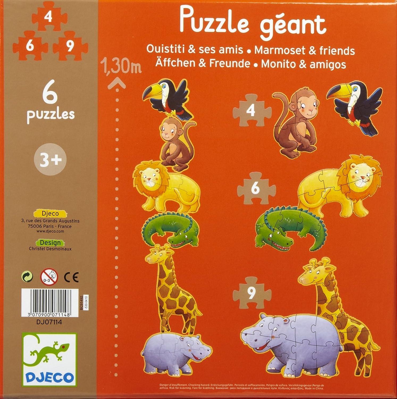 Djeco7114 Puzzle Äffchen /& Freunde 6 Puzzles ab 2 Jahren