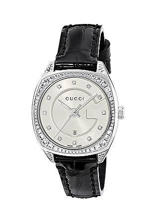 732c7826b4e Amazon.com  Gucci Swiss Quartz Stainless Steel and Leather Dress Black Women s  Watch(Model  YA142507)  Watches